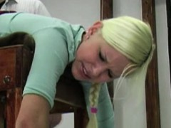 Blonde gets her ass spanked
